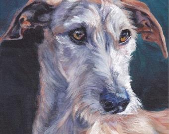 Galgo Espanol spanish greyhound dog art CANVAS print of painting by LA Shepard 12x12