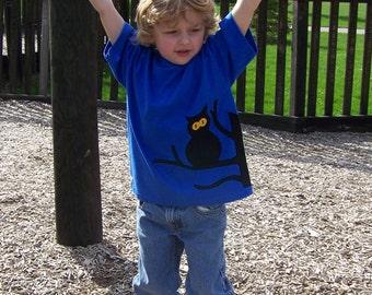 Owl Tree Tshirt Wrap Around Fabric Applique Youth Kids Size XSmall 4 5, Small 6 7, Medium 8 10, Large, XLarge
