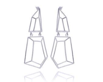 Geometric Long Earrings, Geometric Sterling Silver Earrings, Gifts for Her, Geometric Jewelry, Bridal Earrings, Free Shipping