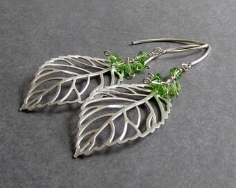 "Silver Leaf Earrings, Light Green Swarovski Crystals, Matte Silver Metal, August Peridot Birthstone, Statement Jewelry, ""Scatter"""