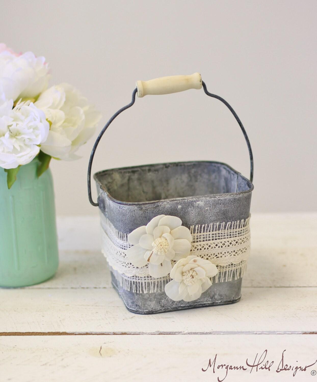 Flower Girl Basket Galvanized Tin Burlap Lace By Braggingbags