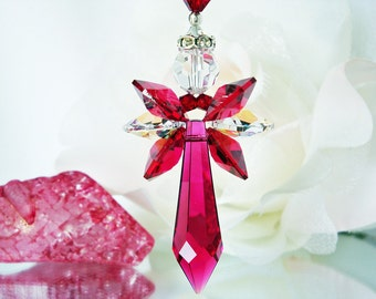 Red Crystal Angel Suncatcher Car Charm Swarovski Rear View Mirror Accessories Hanging Crystals