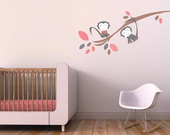 Gray and Pink Nursery Decor. Branch with Monkeys Children Wall Decal