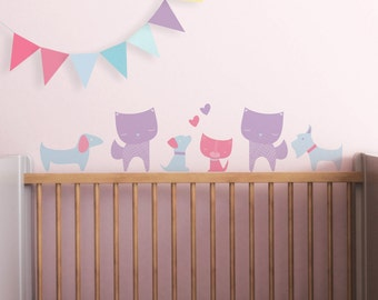Wall Decal with Cats and Dogs, Kids Wall Decal. Cats and Dogs Children Wall Decal