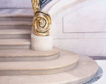 Paris Photography - Versailles Staircase, Neutral, Gold Home Decor, Elegant Travel Photograph, French Wall Decor