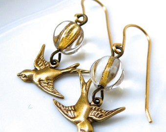 Vintaj brass  earrings, vintage brass and glass earrings, detailed oxidized brass swallow earrings, brass drop earrings