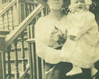 Mother Holding Baby Giant Fancy Hat Antique Vintage Photo Black and White Photograph