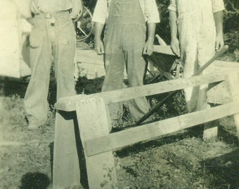 Farmers Working Men Standing in Overalls Wheelbarrow 1920s Antique Vintage Photo Black and White Photograph
