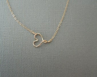 gold sideways heart necklace, delicate gold necklace, dainty gold necklace, simple necklace, frienship necklace, bridesmaids valentines gift