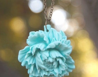 CLEARANCE Large Light Blue Peony Flower Necklace // Bridesmaid Necklaces // Rustic Wedding // Something Blue