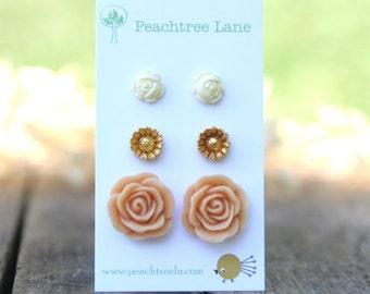 Large Peach Rose Flower Earrings //  Metallic Gold Daisy Earrings // Cream Ivory Rose Earrings // Bridesmaid Earrings
