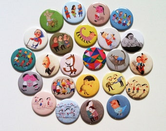 24 Illustrated  Mirrors / 2.2-inch  Pocket Mirror / accessories fun Illustrations / Cartoons / fun images /compact mirror
