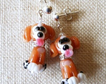 Beagle Earrings, Puppy, Dog, Brown, Beagle Gift, Dog Gift, Dog Lover, Pet