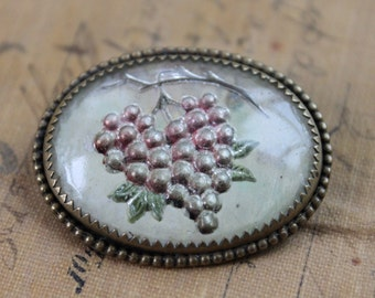 Antique Goofus Glass Tuscan Grape Brooch / Reverse Painted Glass / Essex Crystal Jewelry