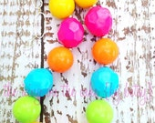 Summer Fun Chunky Bead Necklace - Photo Prop - Summer Vacation - Pink Orange Turquoise Blue Lime Yellow - Back to School - Bright