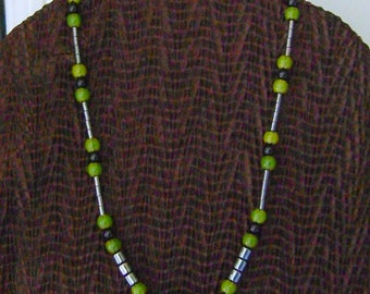 African Green Trade Beads with Hematine Necklace