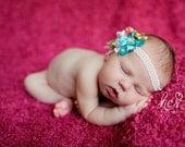 Baby Girl Flower Headbands, Newborn Headband, Big Girl, Cherry Pink, White and Mint