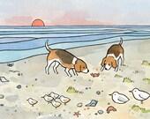 Beagles Beach 5x7 Limited Edition Print