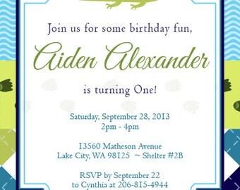 Alligator / Crocodile Birthday Party Invitation