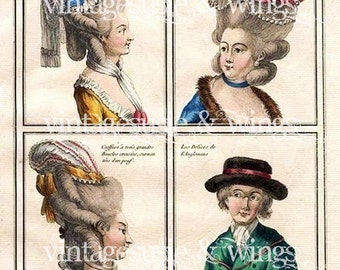 MARIE ANTOINETTE Hair and Headpieces Fashion Plate Print Collage Sheet PRINT 22 Digital Download