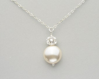 Pearl Bridal jewelry, Swarovski Coin Pearl and Rhinestone Ball Pendant Necklace, Handmade Wedding Jewelry for the Bride