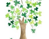 Art print  The lucky Tree, clover leaf tree , print of watercolor painting,  St Patrick Day, Kelly green, Wall art, luck of the Irish