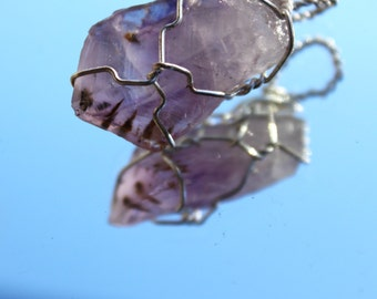 Raw Amethyst with Golden Inclusions Wrapped in Silver