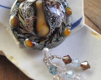 PECAN PIE Lampwork and Swarovski Necklace