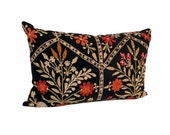 Antique Suzani Velvet Pillow - 1910's Blooming Floral - 20 x 30