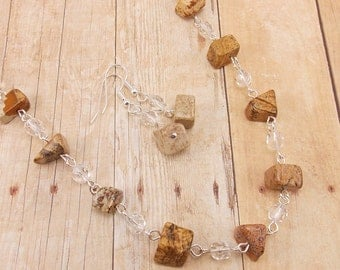 Necklace and Earring Set - Natural Stone and Clear Glass Beads