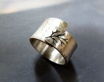 Rustic autumn tree ring, Sterling silver, hammered wide band, handmade metalwork jewelry