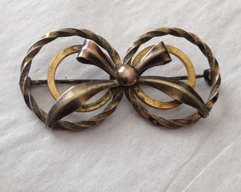 Circles Bow Brooch 10K Gold Filled