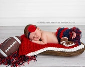 Inspired by the New England Patriots- Baby Girl Headbands,Chiffon ruffle bum baby bloomer,Diaper cover, football Leg warmers, 3 Piece Set