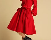 Red Wool Swing Coat - Brightly Colored Single Breasted Swing Coat with Large Collar  (335)