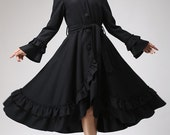Black Ruffles Coat - Long Wool Maxi Hooded Coat with Circular Hemline - Made to  Measure (713)