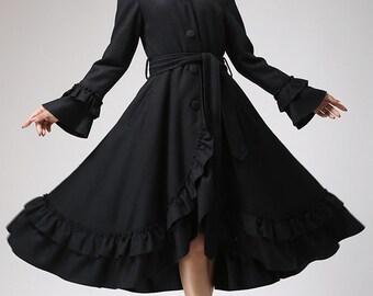 Ruffle coat, long coat, hooded coat, wool coat, black coat, romantic coat, boho coat, swing coat, womens jacket, handmade clothing  713