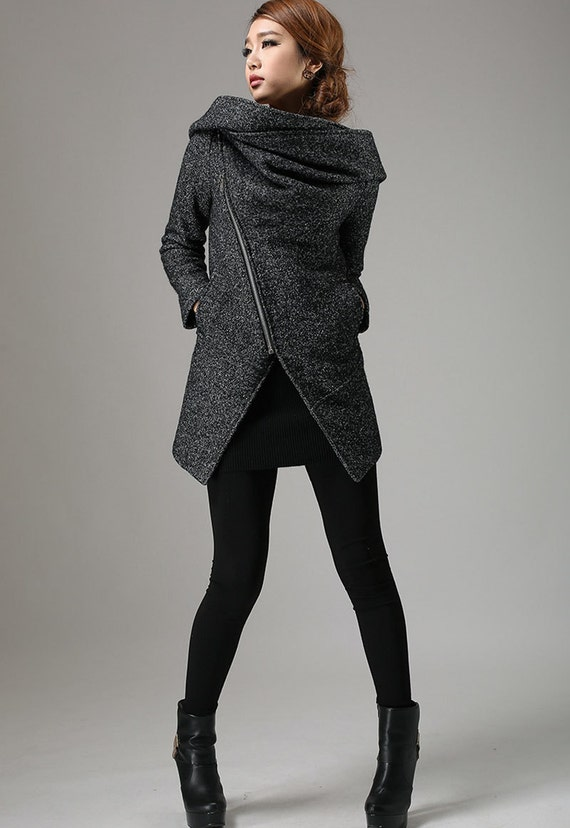 Short Winter Biker Jacket - Charcoal Black Modern Edgy Streetwear Hooded Coat with Large Cowl Neck and Asymmetrical Zipper (735)