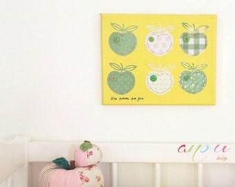 Wall decor, Apples canvas, Wall art, Canvas 12 x 10 inch