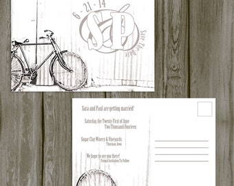 Save The Date Postcard -- Wedding Invitation, Bicycle Wedding, Rustic Wedding