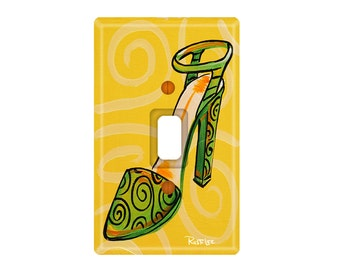 Green and Yellow Shoe Diva Light Switch Plate (Choose From 4 Designs)