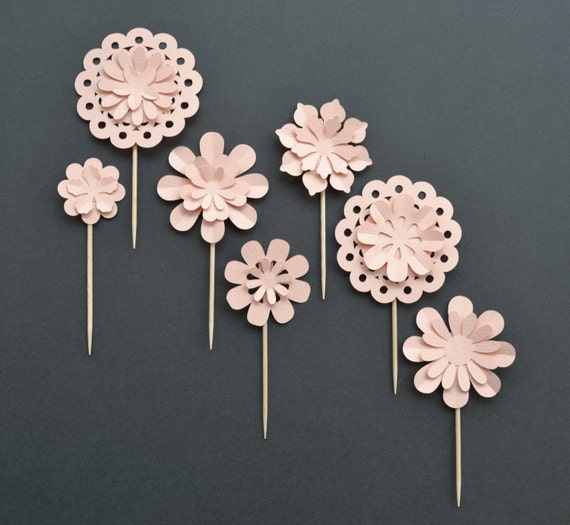lovely handmade 3d flower cupcake toppers custom colours