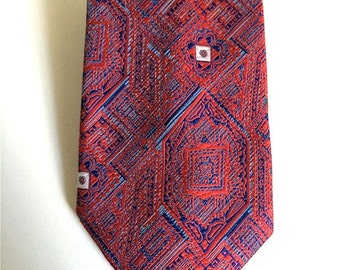 Vintage Neckties Men's 70's Wembley, Polyester, Red, Blue, Geometric Printed, Fat Tie