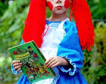 Raggedy Ann Doll Baby Ragdoll Costume Dress & Bow Dress Up Pageant Halloween Doll