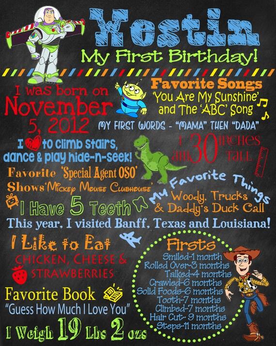 Chalkboard Birthday Poster Toy Story Theme