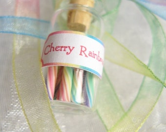 Pastel Rainbow Candy Jar Necklace -  Cherry Rainbow - Miniature Glass Bottle with Rainbow Organza Ribbon