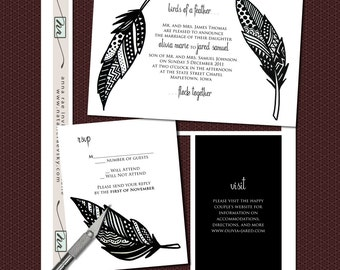 DIY- Birds of a Feather, printable Wedding Invitation Suite with rsvp, info card