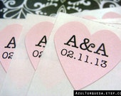 108 custom initials and wedding date heart stickers .75 inch soft pink paper, envelope seals, stickers, wedding favor (S-42) - azulturquesa