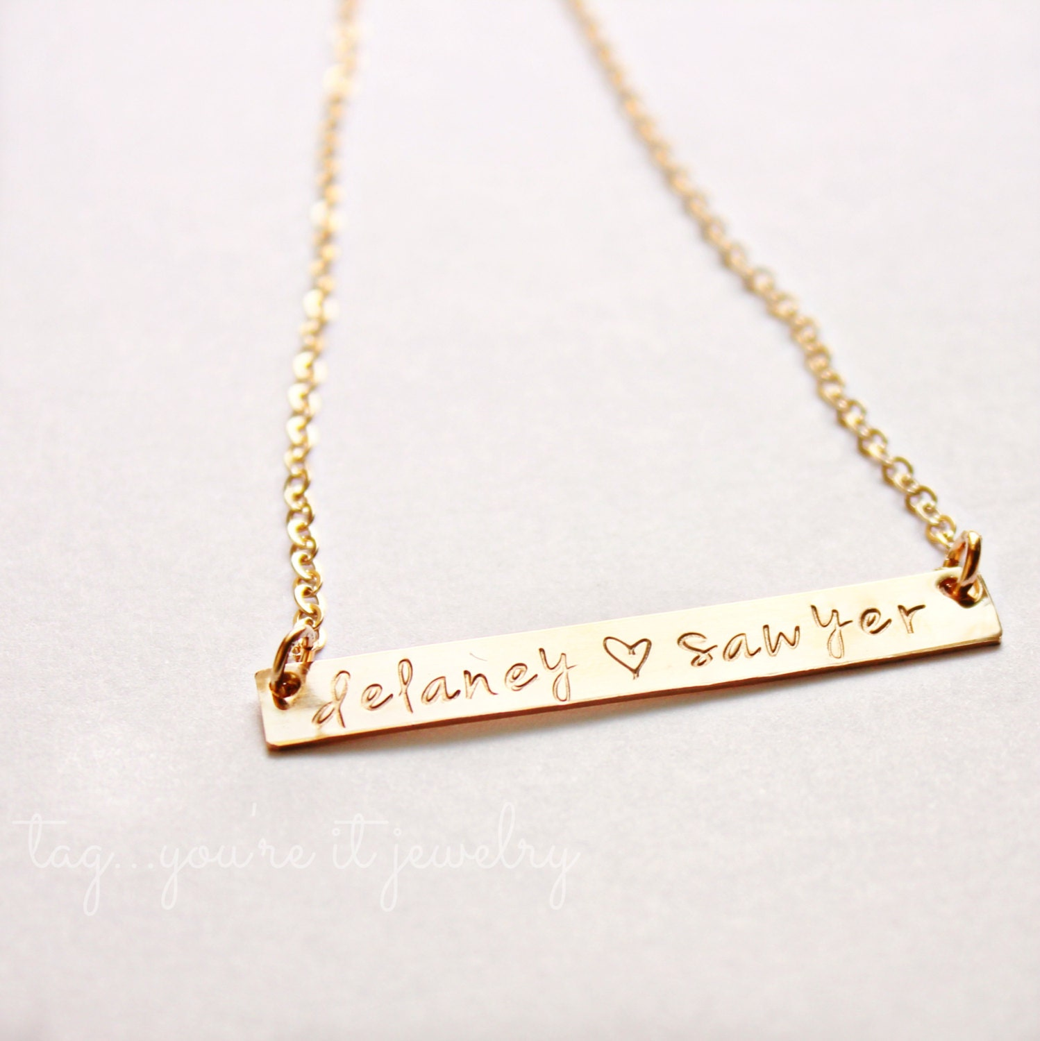 gold bar necklace personalized name plate by tagyoureitjewelry