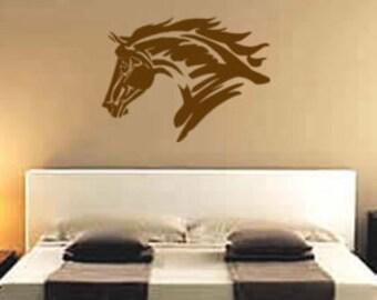 Horse Decal Teen Girls Western Wall Decor Mustang Sticker Pony Dorm Room Girls Bedroom Decal Teen Room Den Boys Room 28 X 37 inches