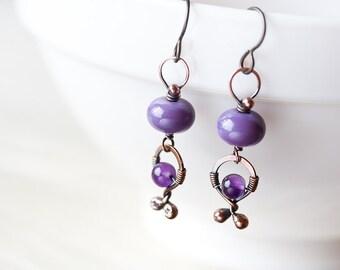 Playful lilac purple dangle earrings, oxidized copper, pastel purple lampwork glass bead, wire wrapped amethyst dangle, niobium earwires